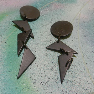 Contempo C Vtg geometry circle triangle earrings